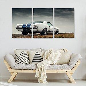 Quadro Decorativo Carro Branco Listra Azul 115x57cm Sala Quarto