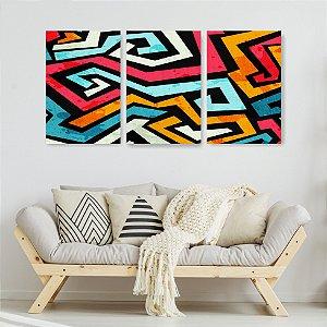 Quadro Decorativo Labirinto Colorido 115x57cm Sala Quarto
