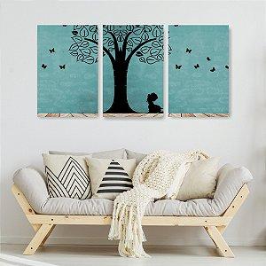 Quadro Decorativo Menina Debaixo Da Árvore 115x57cm Sala Quarto