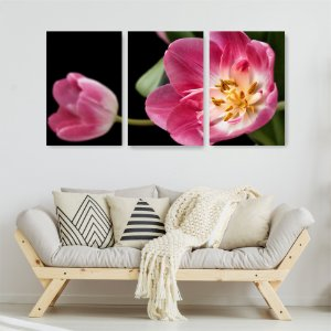 Quadro Decorativo Tulipa Rosa 115x57cm Sala Quarto