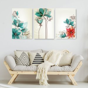 Quadro Decorativo Flores Design Tiffany 115x57cm Sala Quarto