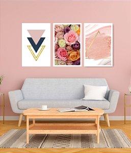 Quadro Decorativo Rosas Triângulos 115x57cm Sala Quarto