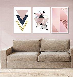 Quadro Decorativo Triângulos Rosa Glitter 115x57cm Sala Quarto
