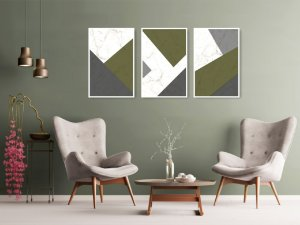 Quadro Decorativo Cimento Verde 115x57cm Sala Quarto
