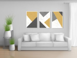 Quadro Decorativo Abstrato Yellow 115x57cm Sala Quarto