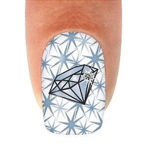 Adesivo de Unha Diamante Linha Strass - 12un