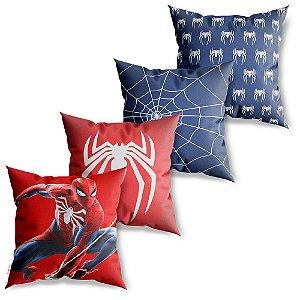 Kit 4 Capas de Almofadas Decorativa Homem Aranha
