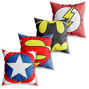 Kit 4 Capas de Almofadas Decorativa Heróis