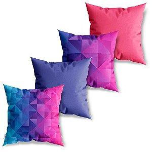 Kit 4 Capas de Almofadas Decorativa Geométricos Coloridos