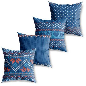 Kit 4 Capas de Almofadas Decorativa Crochet Coração