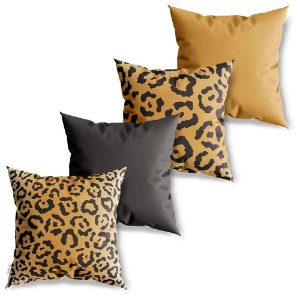 Kit 4 Capas de Almofadas Decorativa Animal Print