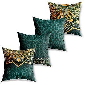 Kit 4 Capas de Almofadas Decorativas Mandala Verde Dourada