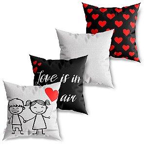 Kit 4 Capas de Almofadas Decorativas Love is in the Air