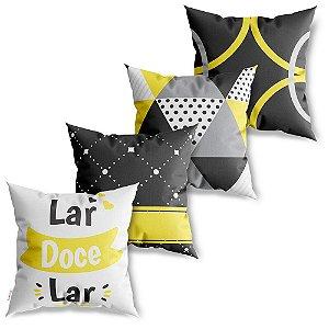Kit 4 Capas de Almofadas Decorativas Lar Doce Lar Amarelo