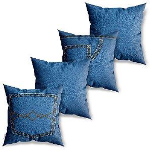 Kit 4 Capas de Almofadas Decorativas Jeans Stile