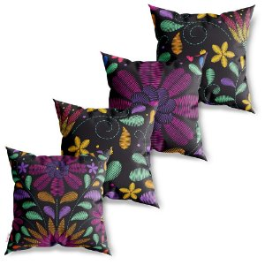 Kit 4 Capas de Almofadas Decorativas Bordado Flores