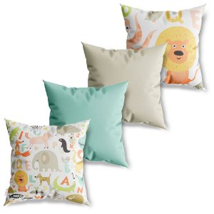 Kit 4 Capas de Almofadas Decorativas Baby Patterns Animais
