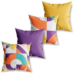 Kit 4 Capas de Almofadas Decorativas Arte Geométricos Color