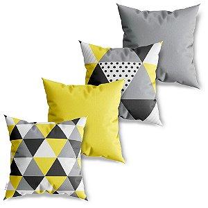 Kit 4 Capas de Almofadas Decorativa Triângulos Amarelos