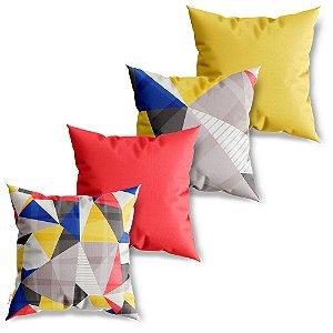 Kit 4 Capas de Almofadas Decorativa Polígnos Coloridos