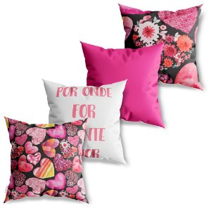 Kit 4 Capas de Almofadas Decorativa Plante Amor