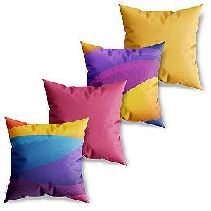 Kit 4 Capas de Almofadas Decorativa Ondas Coloridas