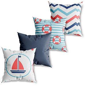 Kit 4 Capas de Almofadas Decorativa Nautica Kids