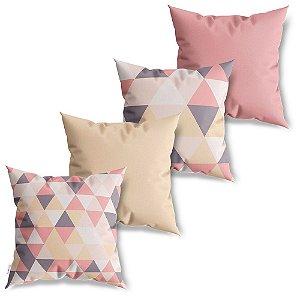 Kit 4 Capas de Almofadas Decorativa Mosaico de Triângulos