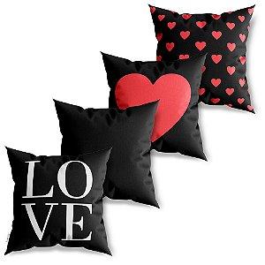 Kit 4 Capas de Almofadas Decorativa Love Coração