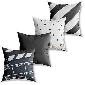 Kit 4 Capas de Almofadas Decorativa Linha Cinema 2