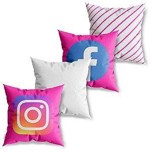 Kit 4 Capas de Almofadas Decorativa Mídia Social Pink