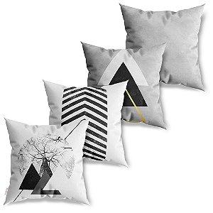 Kit 4 Capas de Almofadas Decorativa Geométrico Triângulo