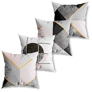Kit 4 Capas de Almofadas Decorativa Geométricos Love Chevron