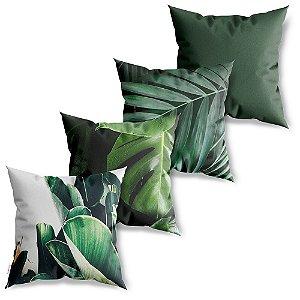 Kit 4 Capas de Almofadas Decorativa Folhas Verdes