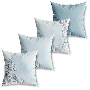 Kit 4 Capas de Almofadas Decorativa Flores em Azul
