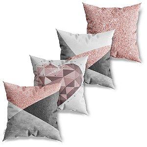 Kit 4 Capas de Almofadas Decorativa Abstrato Rose Cinza