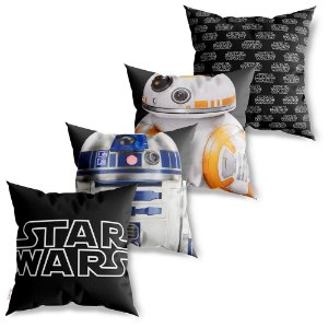 Kit 4 Capas de Almofadas Decorativa Star Wars