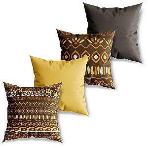 Kit 4 Capas de Almofadas Decorativa Pattern Africano