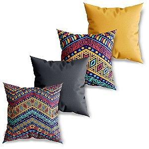 Kit 4 Capas de Almofadas Decorativa Pattern Africano 2