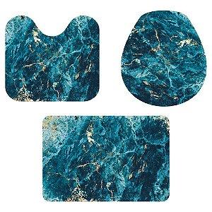 Kit Tapete Para Banheiro Abstrato Azul e Dourado 3 Peças