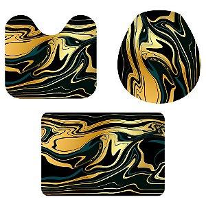 Kit Tapete Para Banheiro Black Gold 3 Peças