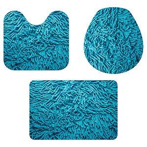 Kit Tapete Para Banheiro Fofinho Azul 3 Peças