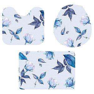 Kit Tapete Para Banheiro Folhas e Flores Azul 3 Peças