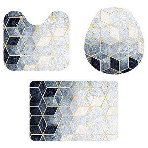 Kit Tapete Para Banheiro Geométrico Degradê 3 Peças