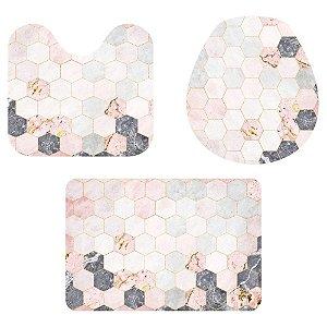 Kit Tapete Para Banheiro Geométricos Rose 3 Peças