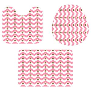 Kit Tapete Para Banheiro Rosa e Branco 3 Peças