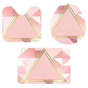 Kit Tapete Para Banheiro Triângulo Rosa Glitter 3 Peças