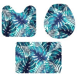 Kit Tapete Para Banheiro Tropical 3 Peças