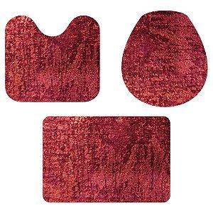 Kit Tapete Para Banheiro Veludo Vermelho 3 Peças