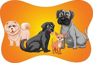 Tapete Decorativo Osso Pet Cachorros Fundo Laranja e Amarelo